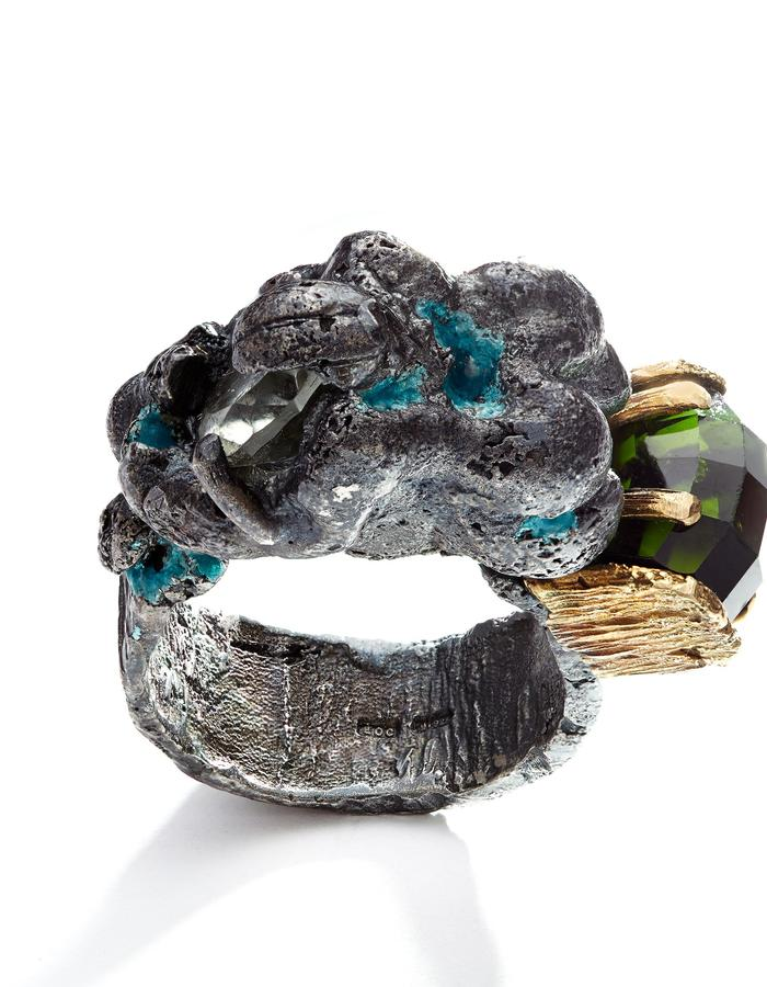 "Eily O Connell ""Algae Bloom"" contemporary jewellery ring silver, oxidized with tourmaline, quartz, enamel and 18 carat gold cast from beach finds"
