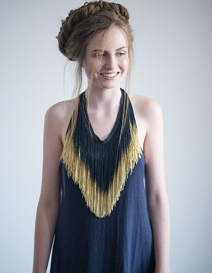 black and gold hand dyed ombre fringe statement necklace