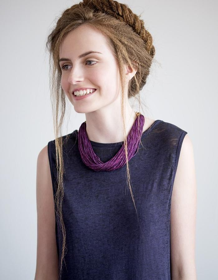 Finge tassel necklace in purple, lightweight and beautiful.