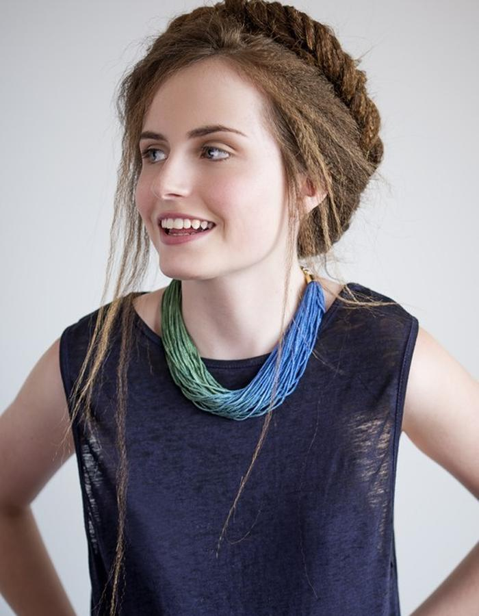 Ombre blue to green fringe statement necklace.