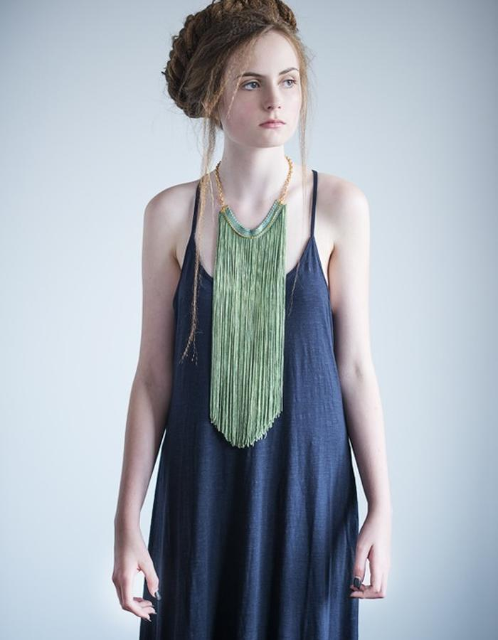 Long fringe necklace in green.