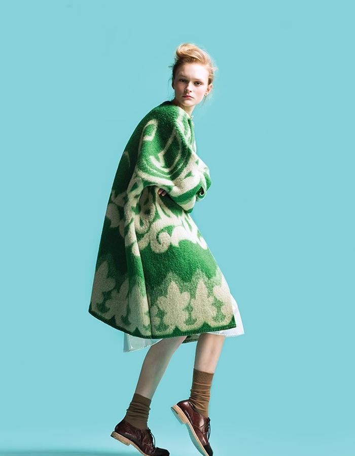 LONGING FOR SLEEP BY MARIT ILISON VINTAGE COLLECTION GREEN COAT
