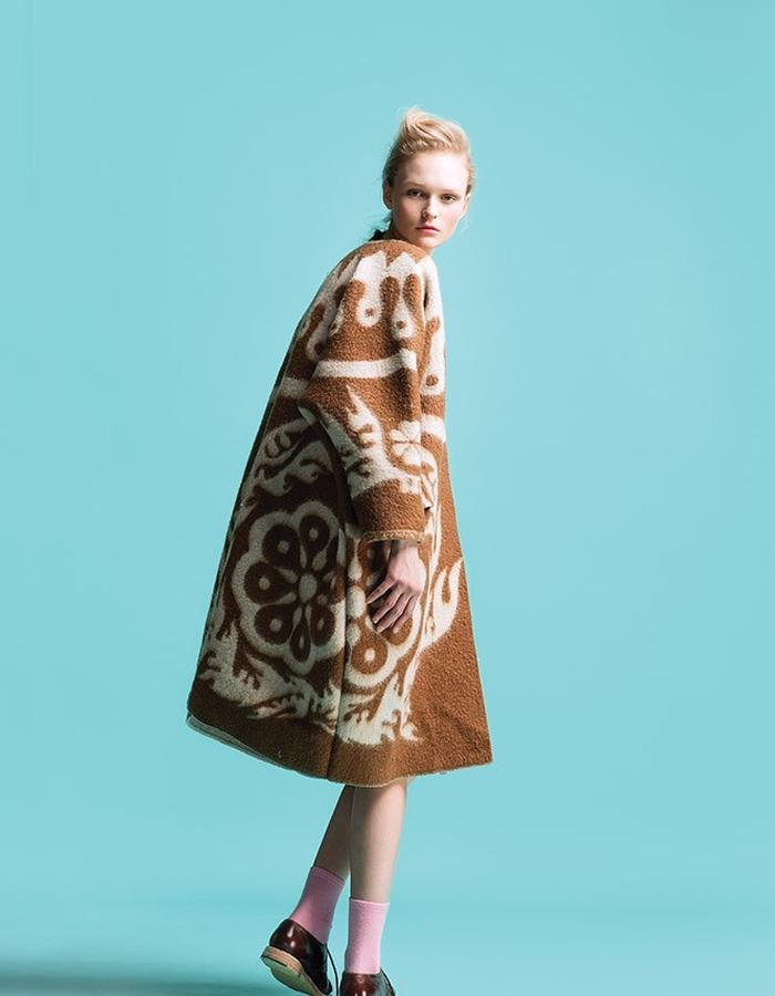 LONGING FOR SLEEP BY MARIT ILISON VINTAGE COLLECTION BROWN COAT
