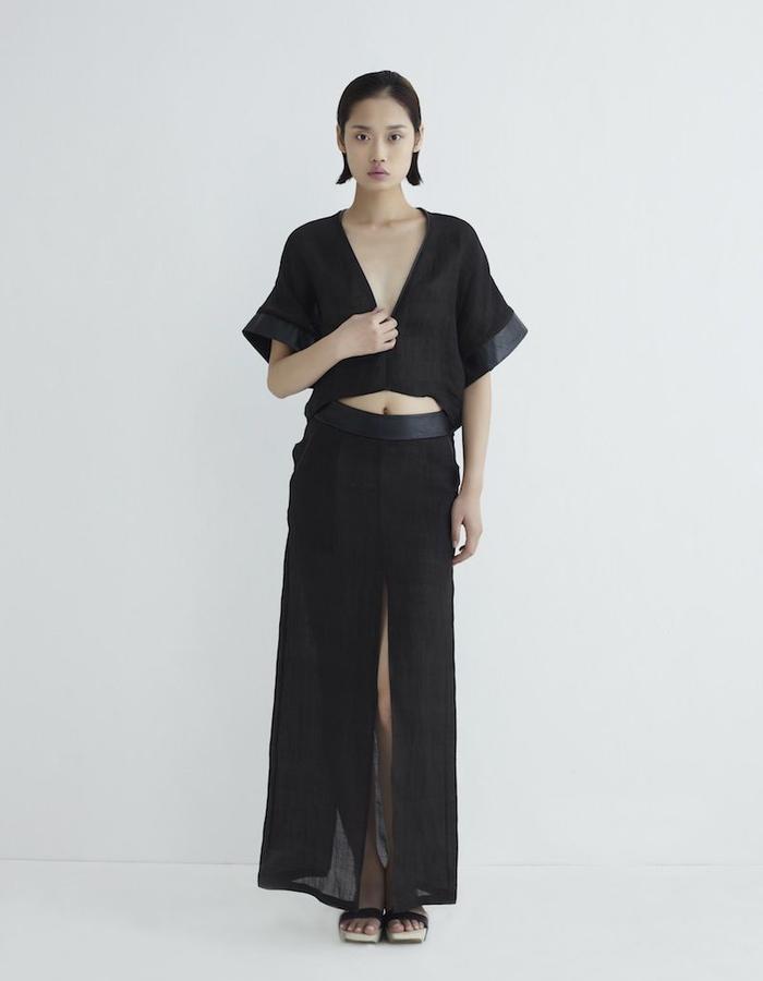 Hongbo Ramie Top & Skirt Combo