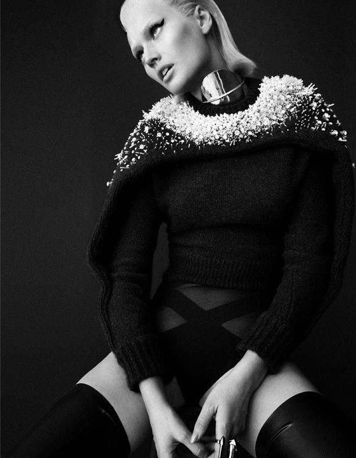 Toni Garrn in Numero Magazine 159 wearing Diaboli Kill Damian Rings