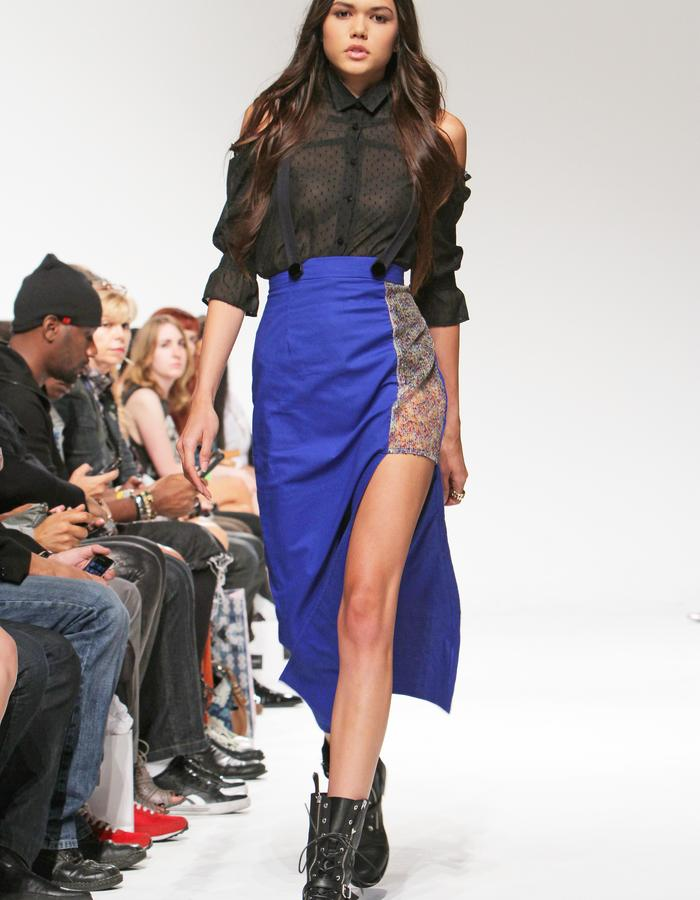 Asymmetrical skirt with suspenders and cut-off shoulder button down
