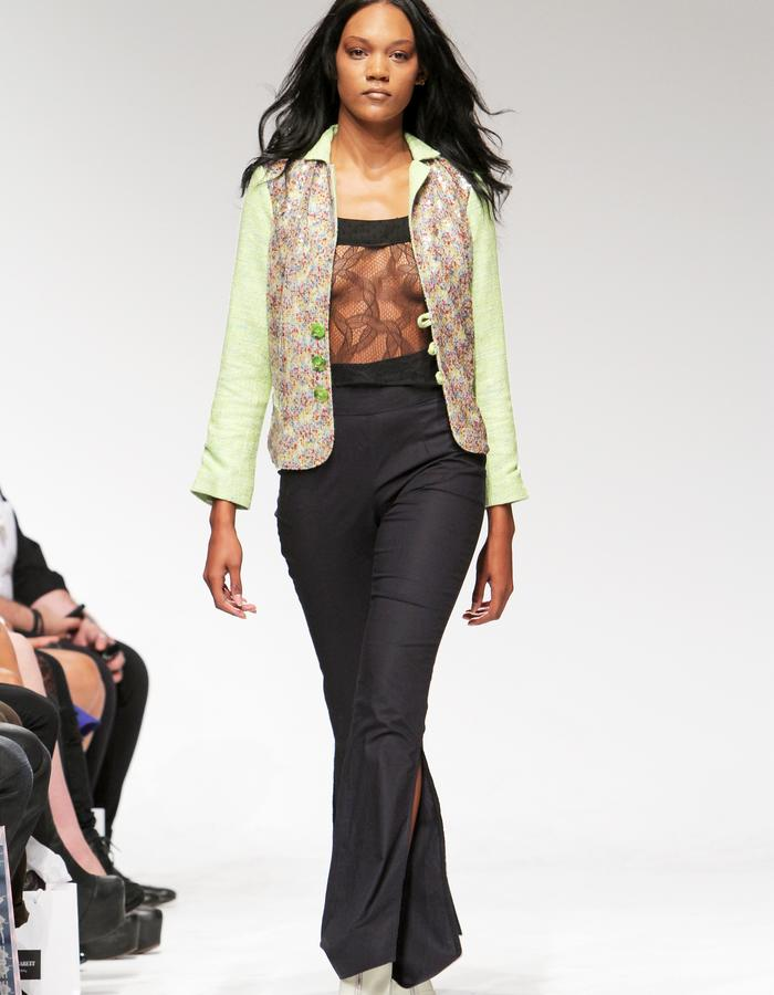 Sequin tweed jacket, lace top, high waisted pants
