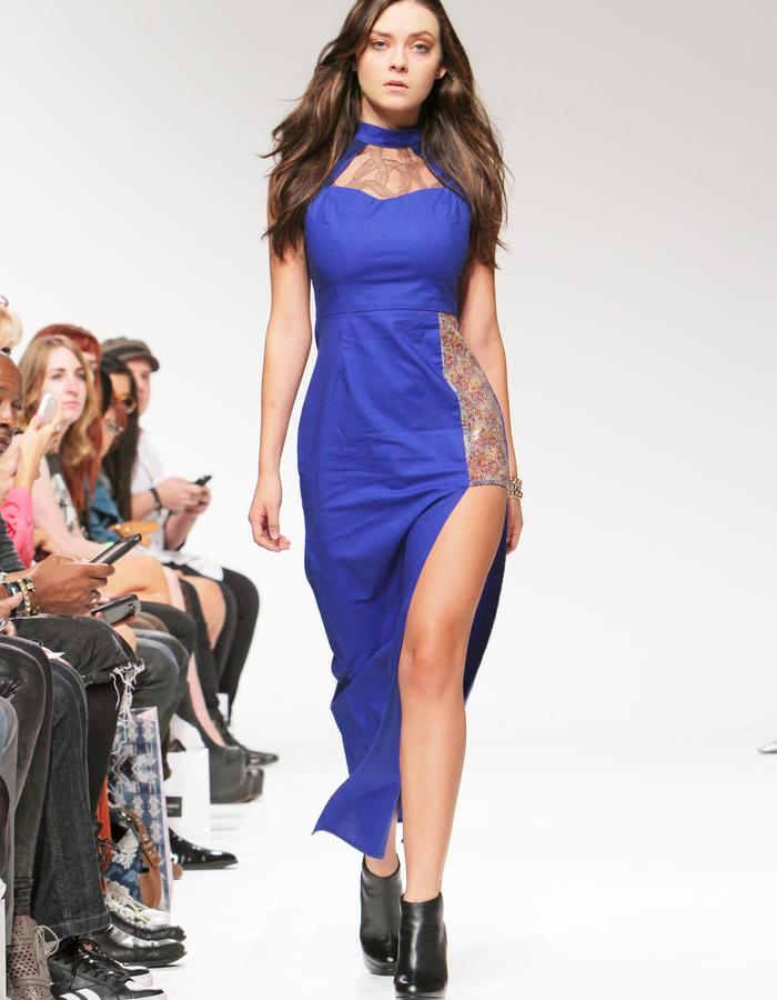 Asymmetrical royal blue dress with floral sequins