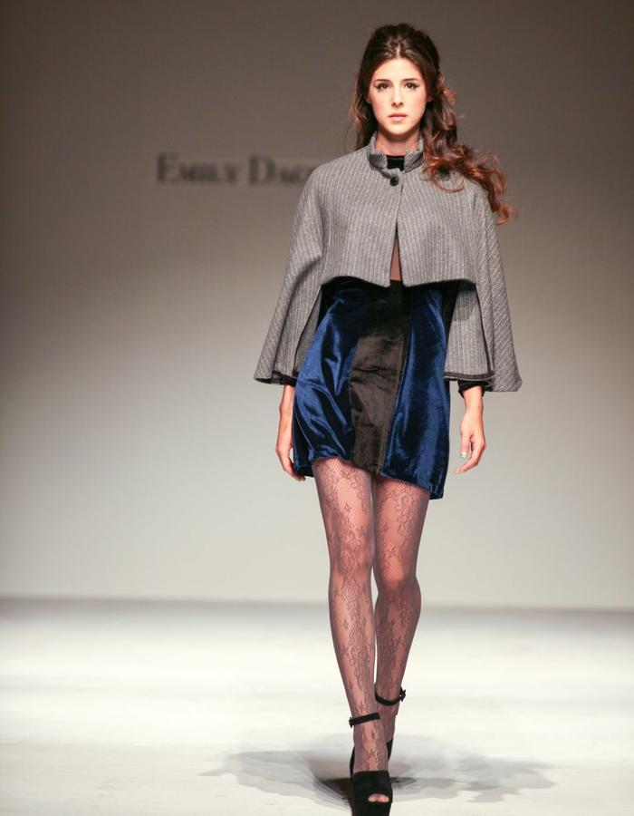 Cape with velvet mini dress