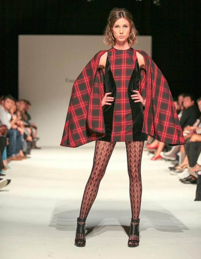 Plaid cape sleeve dress