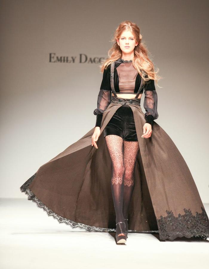 Sheer sleeve crop top, velvet shorts, cape skirt with lace trim and suspenders