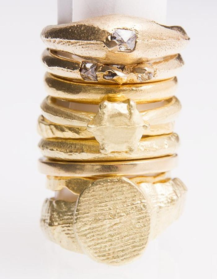 Gold and diamond ring stack
