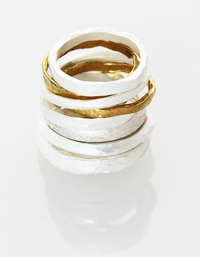Gold and silver ring stack