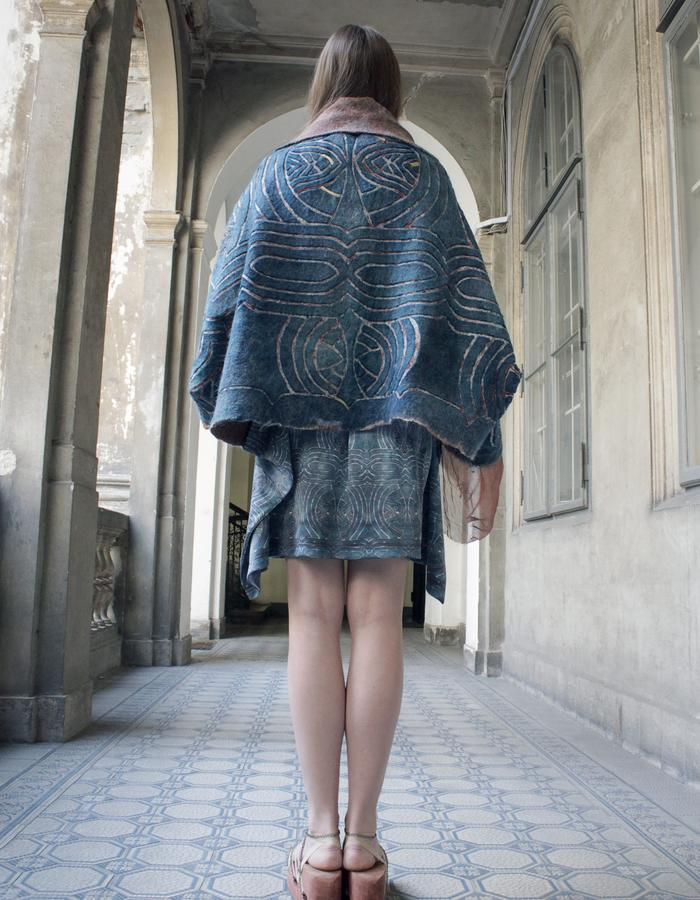 Atlantis outfit, felted carved cape, silk blouse, digital printed jersey skirt