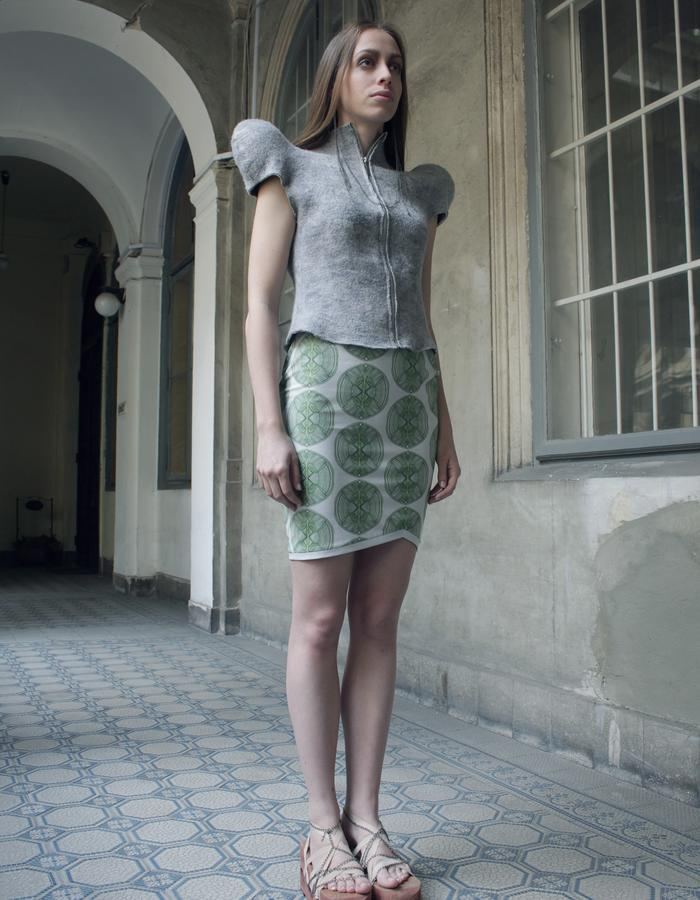 Printed skirt, Felted waistcoat with shoulder pads