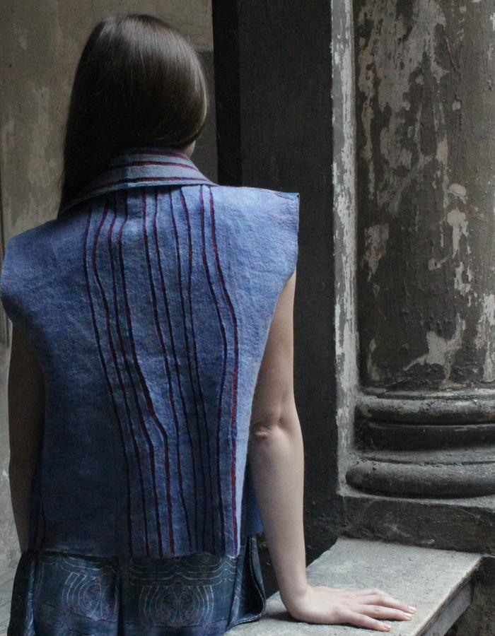 Felted carved waistcoat with leather parts detail
