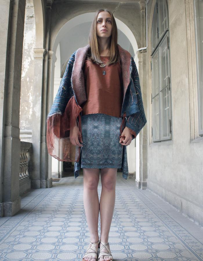 Atlantis outfit, felted cape, silk blouse, digital printed jersey skirt