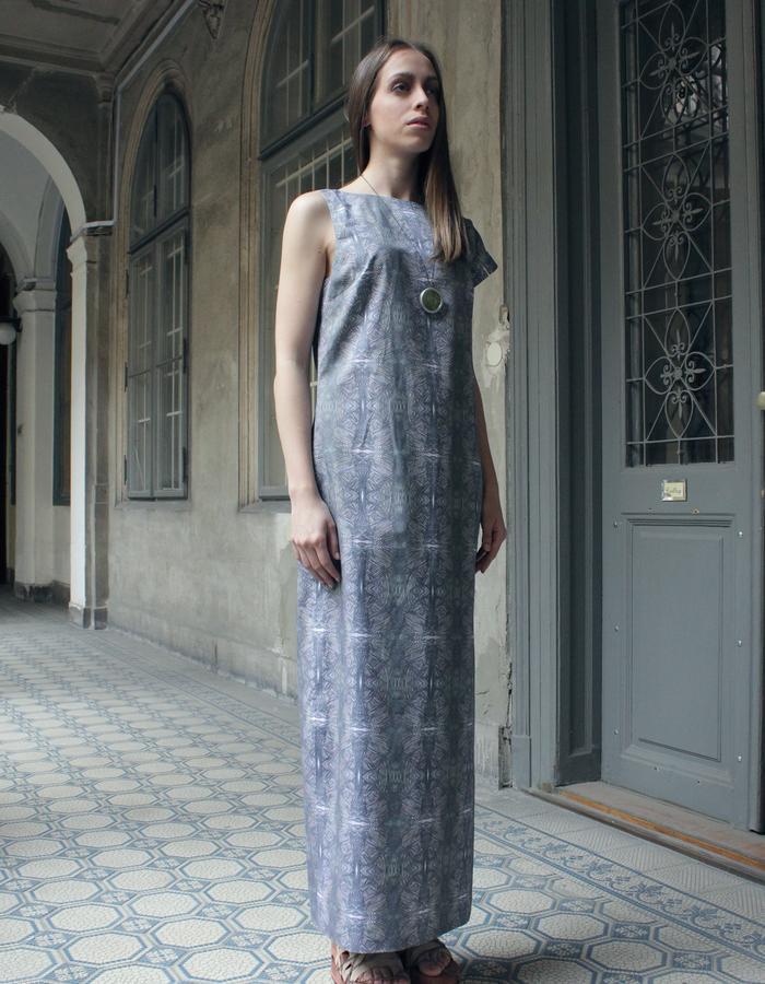 Asimmetric printed cotton dress