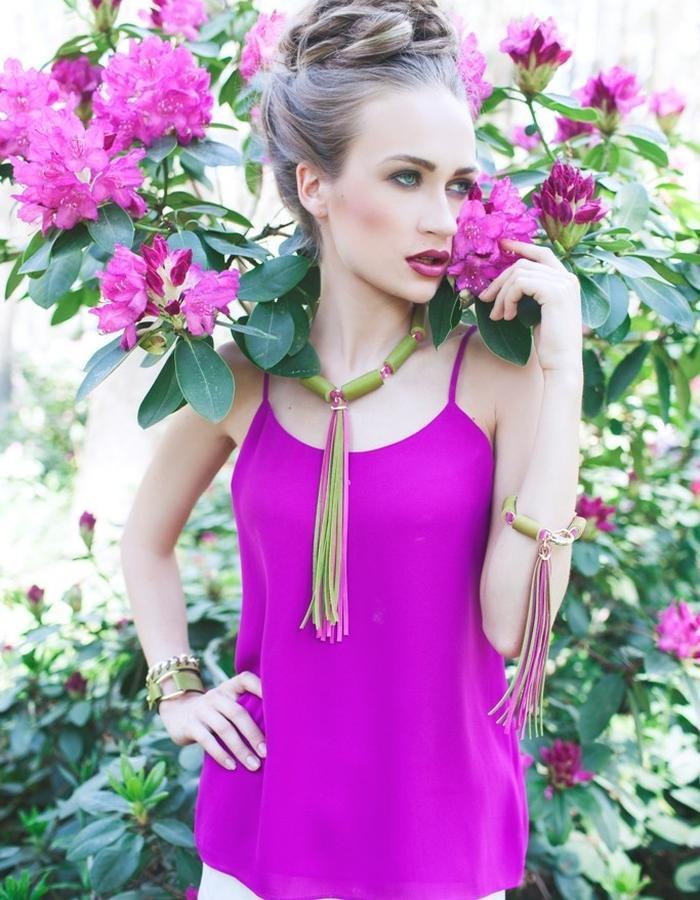 Pink - Apple necklace, bracelet / SENSE OF SEASONS