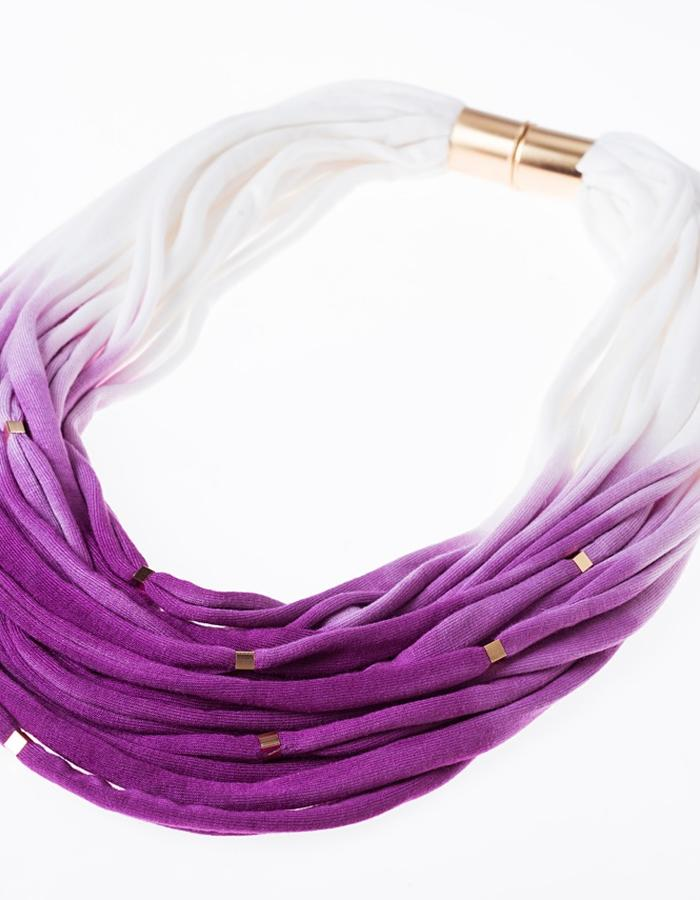 Purple fabric necklace