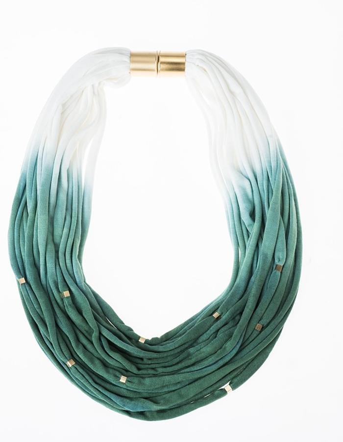 Green fabric necklace