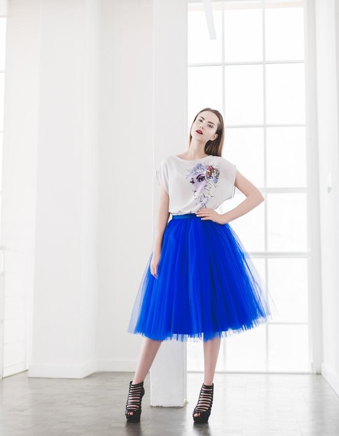 Illustrated silk blouse and tulle skirt