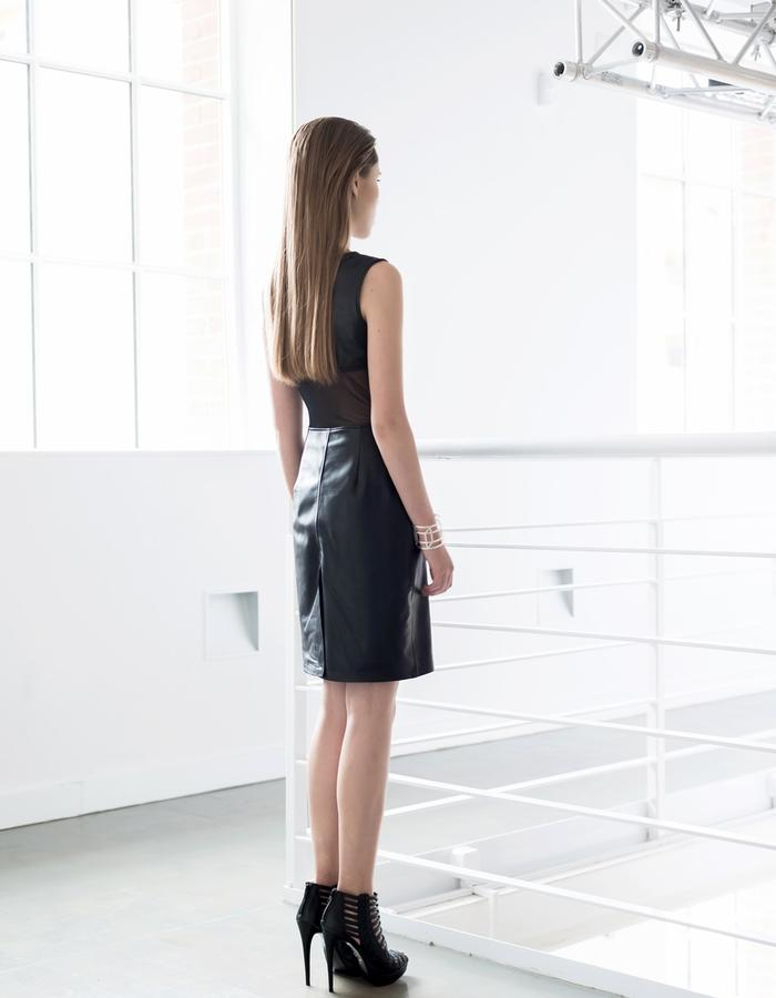 Leather dress with tulle back