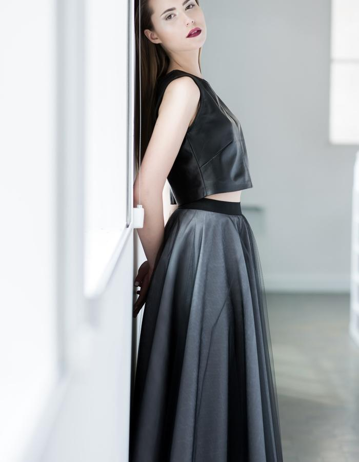 Leather top and circle tulle skirt