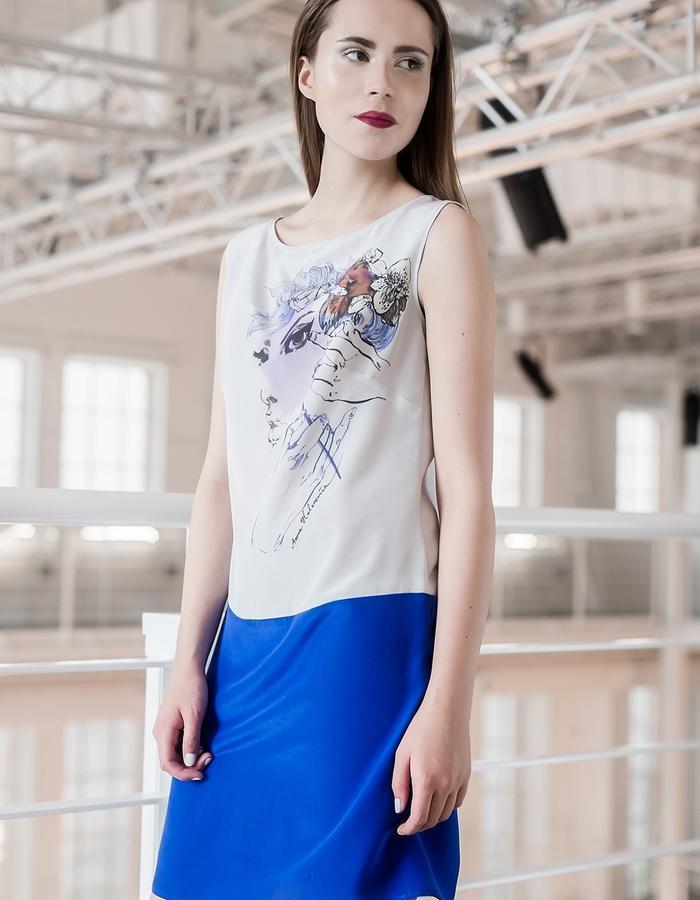 Illustrated silk dress