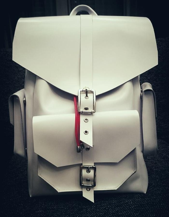 #white #leather #backpack #menswear #men #Vepsta_design #Marius #Vepsta #accessories #fashiondesigner