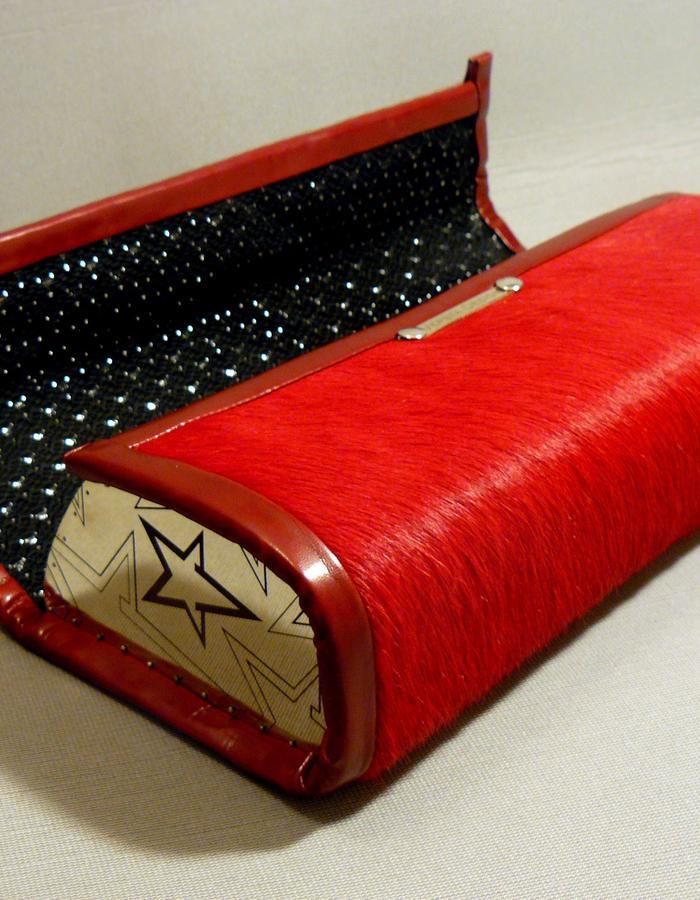 #Queen #royal #red #evening #handbag #purse #fur #cowhide #Vepsta #Design #cupronickel