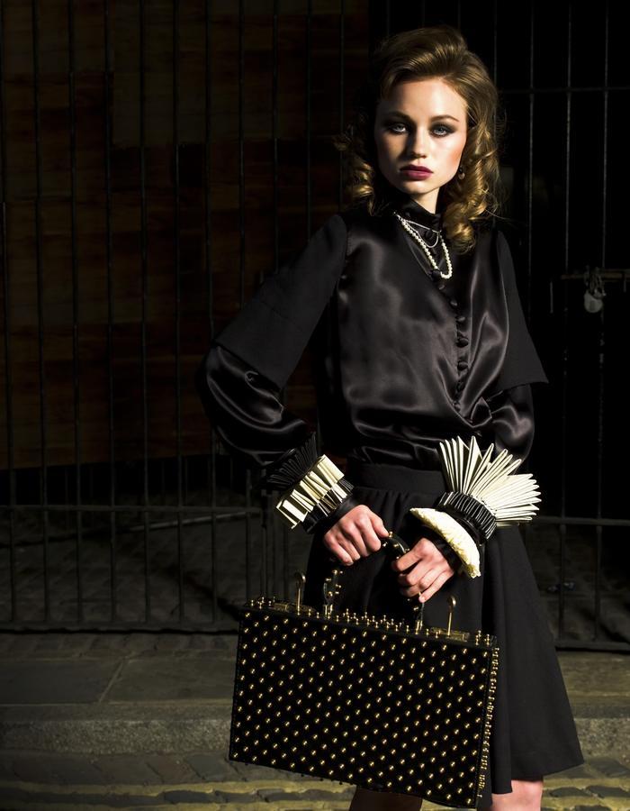 Model wearing one-off-jewellery for VQ Magazine shoot fashion designer Lako Bukia, photographer Rob Payne