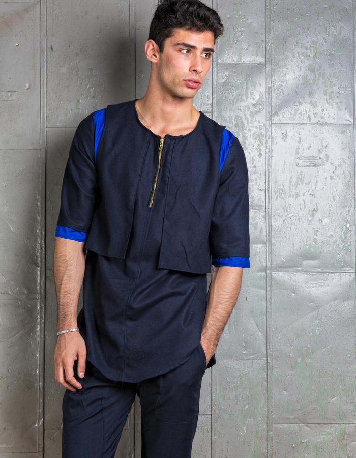 Oversized Wool T Shirt / Wool Tapered Dress Pant