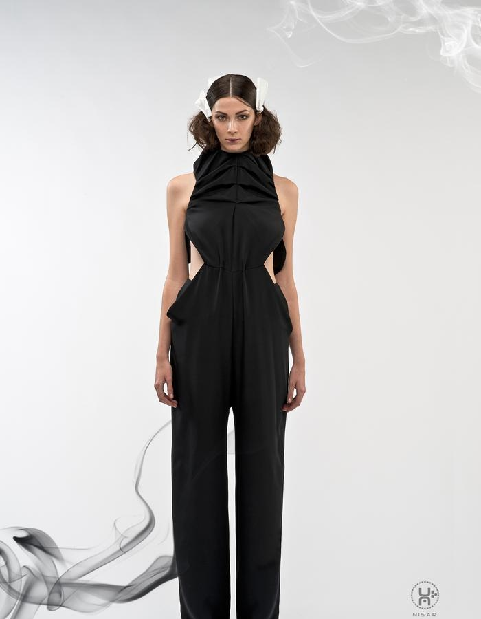 Black Silk Crepe Jumpsuit