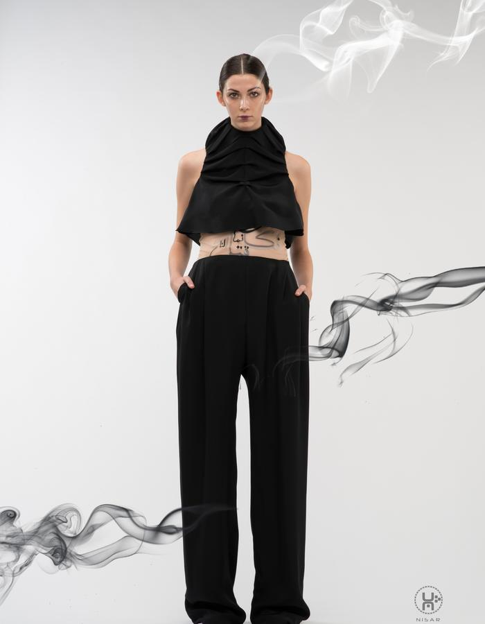 Black Silk Crepe Top and Trousers, Embroidered tulle vest