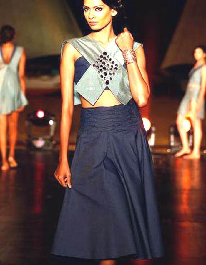 denim crop top and denim flare skirt