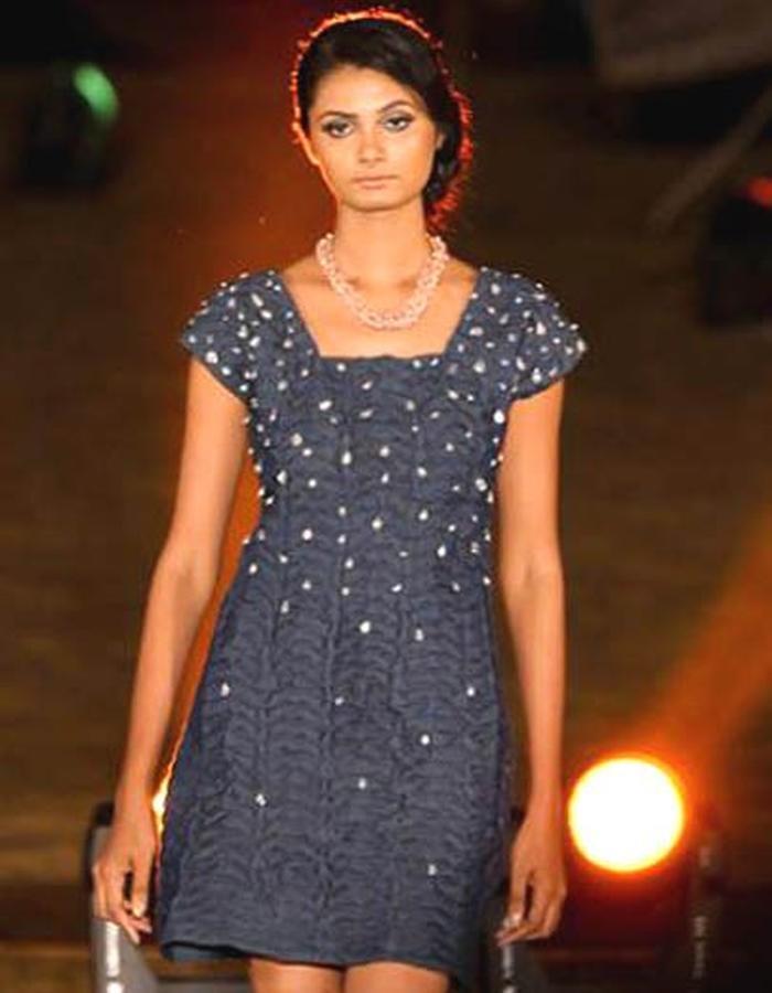 textured short denim dress