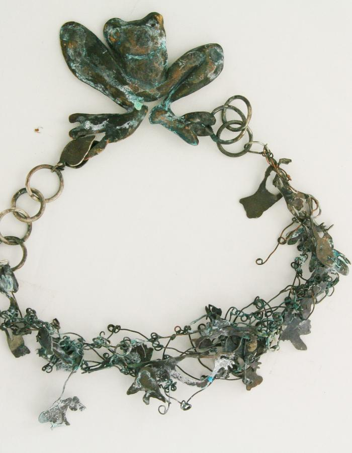 necklace Frog Pond, oxudised siver and copper, 2014