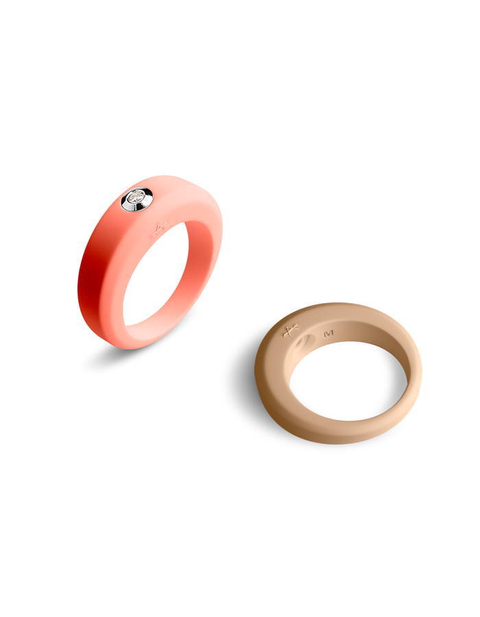 ANARCHIK INTERCHANGEABLE DIAMOND RING CORAL AND LIGHT BROWN