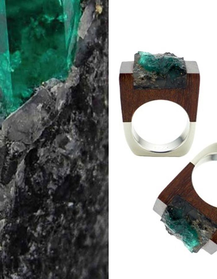 Of a Kind Emerald Wood and Silver Ring_Lust_Handcrafted by Pasionae