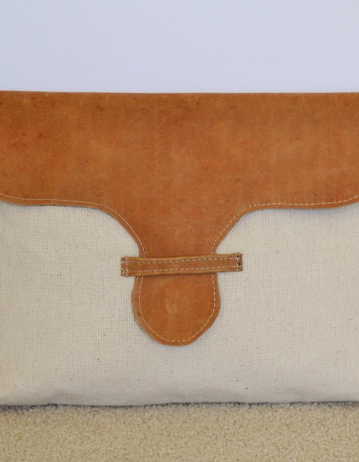 recycled fabric and leather clutch