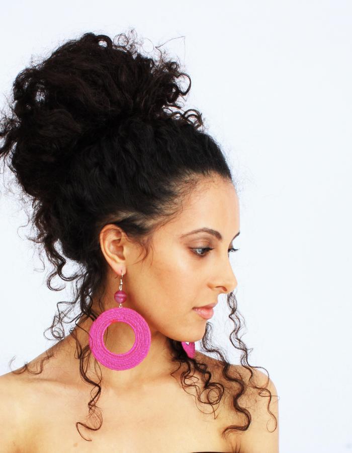 handwoven straw gemstone earrings