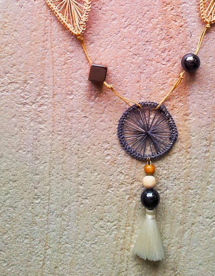 handwoven straw necklace