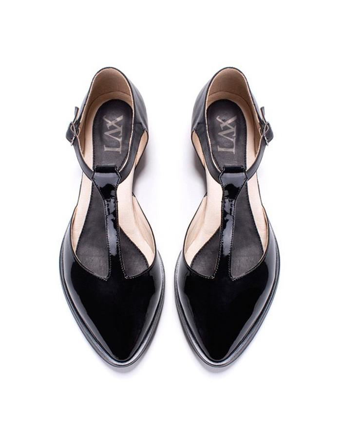 Jazz T Black Patent Sandal