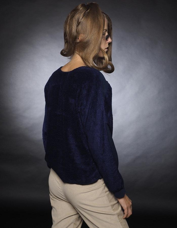 navy blue top two materials