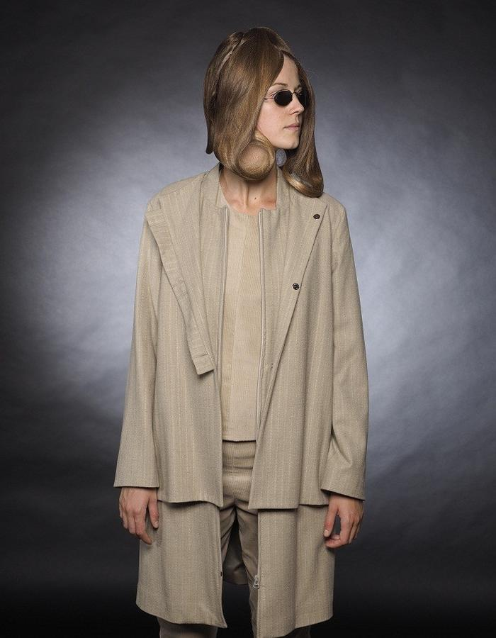 Beige wool coat with double front