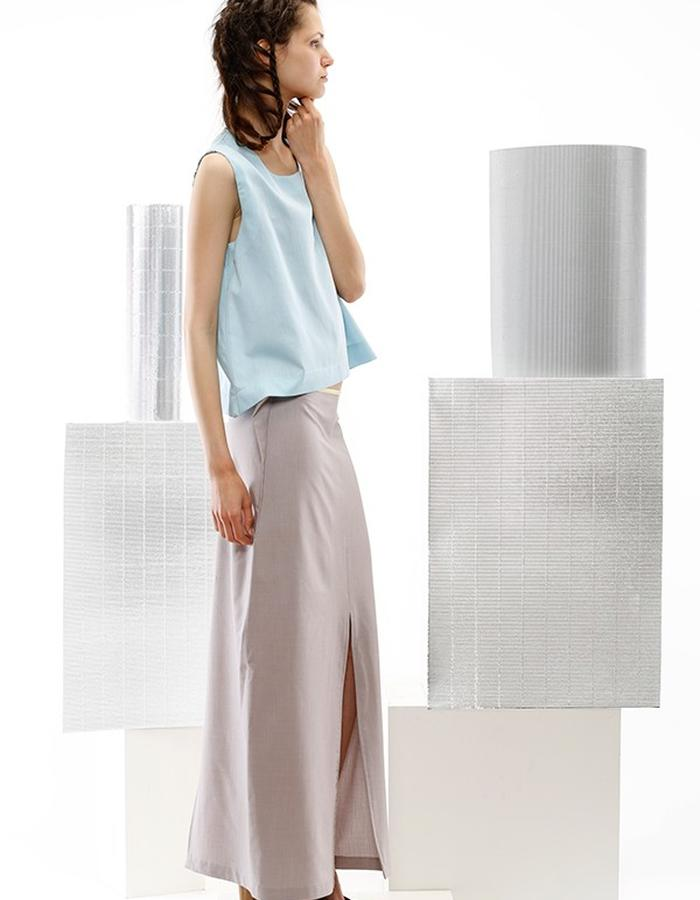 cotton top and long geometric skirt