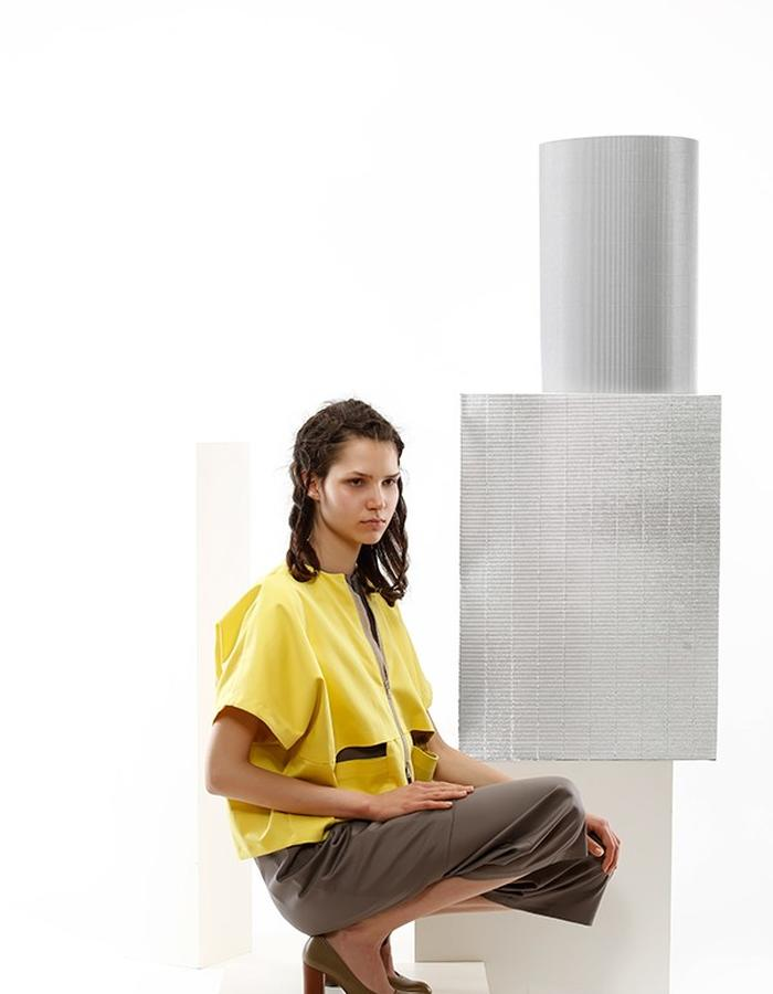 yelow jacket and cotton grey dress and pants