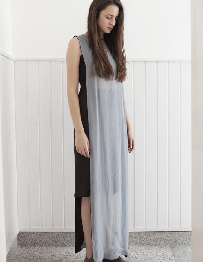 two color long dress