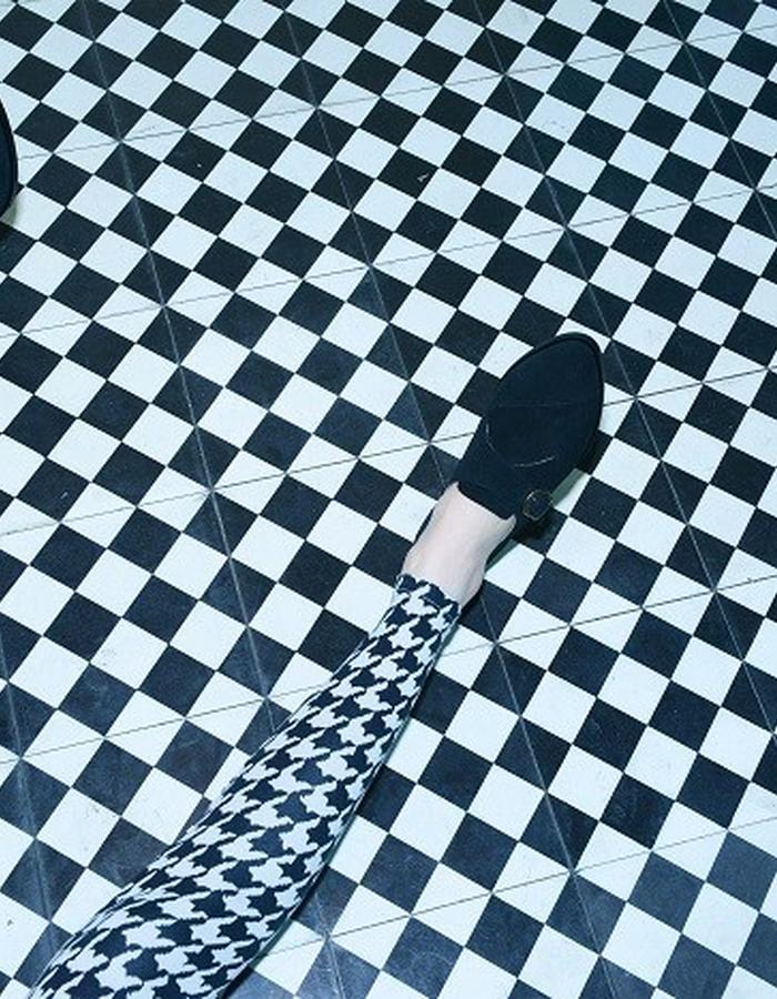Flats, CRISSCROSS BLACK, monk style pointy suede shoe in black